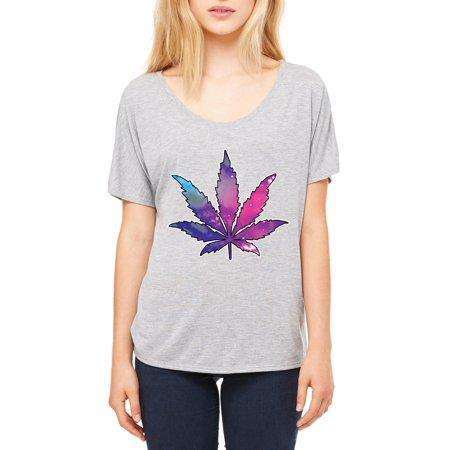 Artix Marijuana Leaf Galaxy Cannabis 420 Fashion Weed Pot People Women Slouchy T Shirt