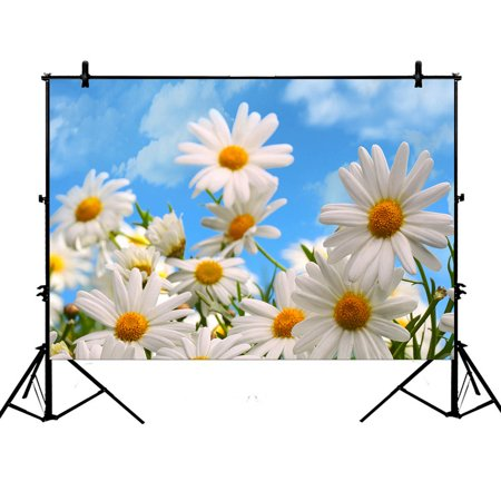 GCKG 7x5ft Elegant Natural Wild White Daisy Flower Field Under The Blue Sky Polyester Photography Backdrop Studio Photo Props Background