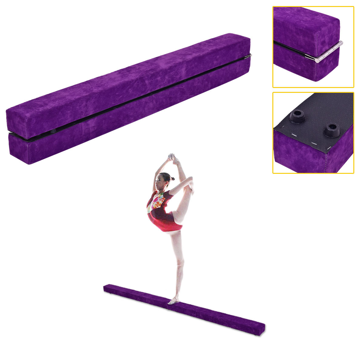 costway 7u0027 sectional gymnastics floor balance beam skill performance training folding