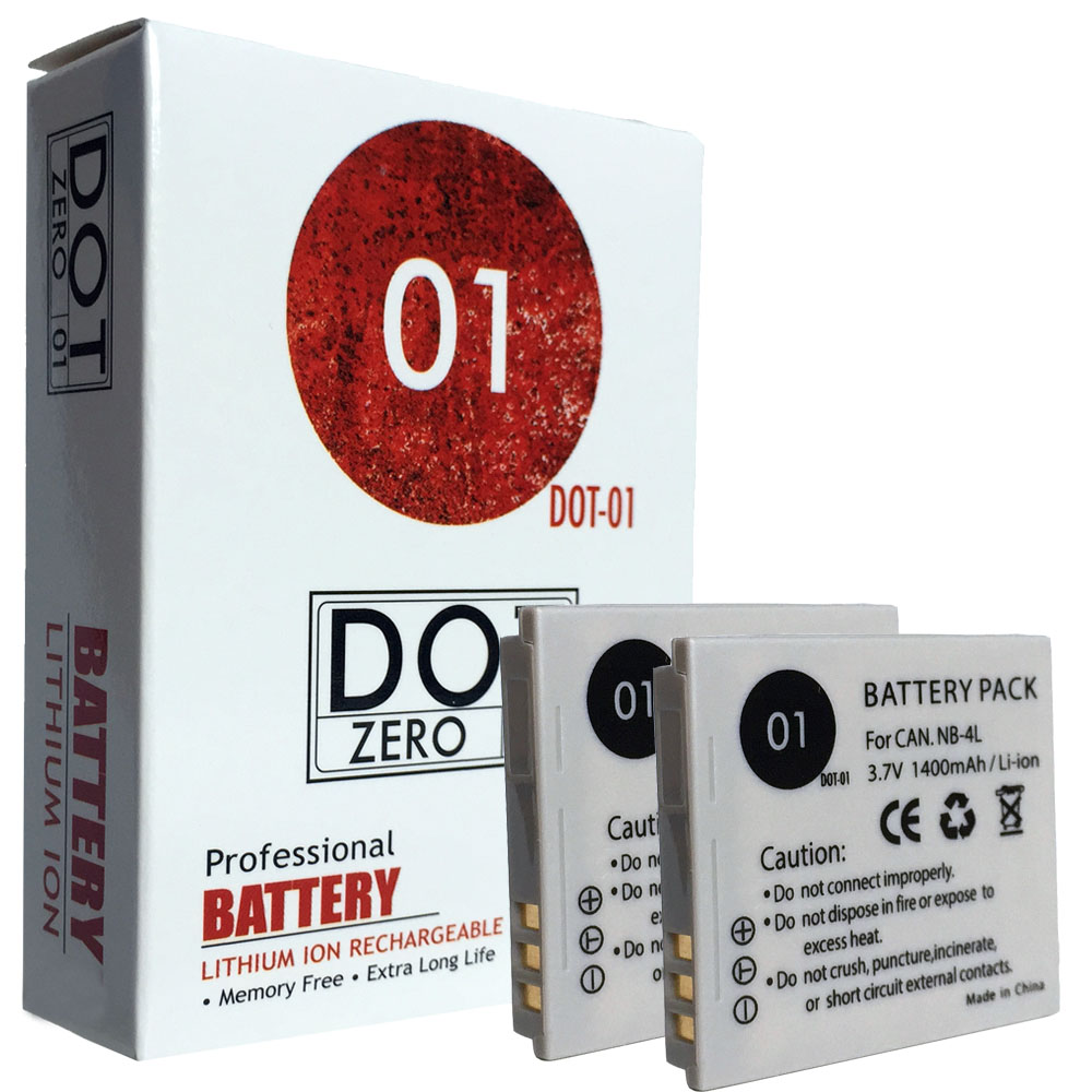 2x DOT-01 Brand 1400 mAh Replacement Canon NB-4L Batteries for Canon SD430 Digital Camera and Canon NB4L