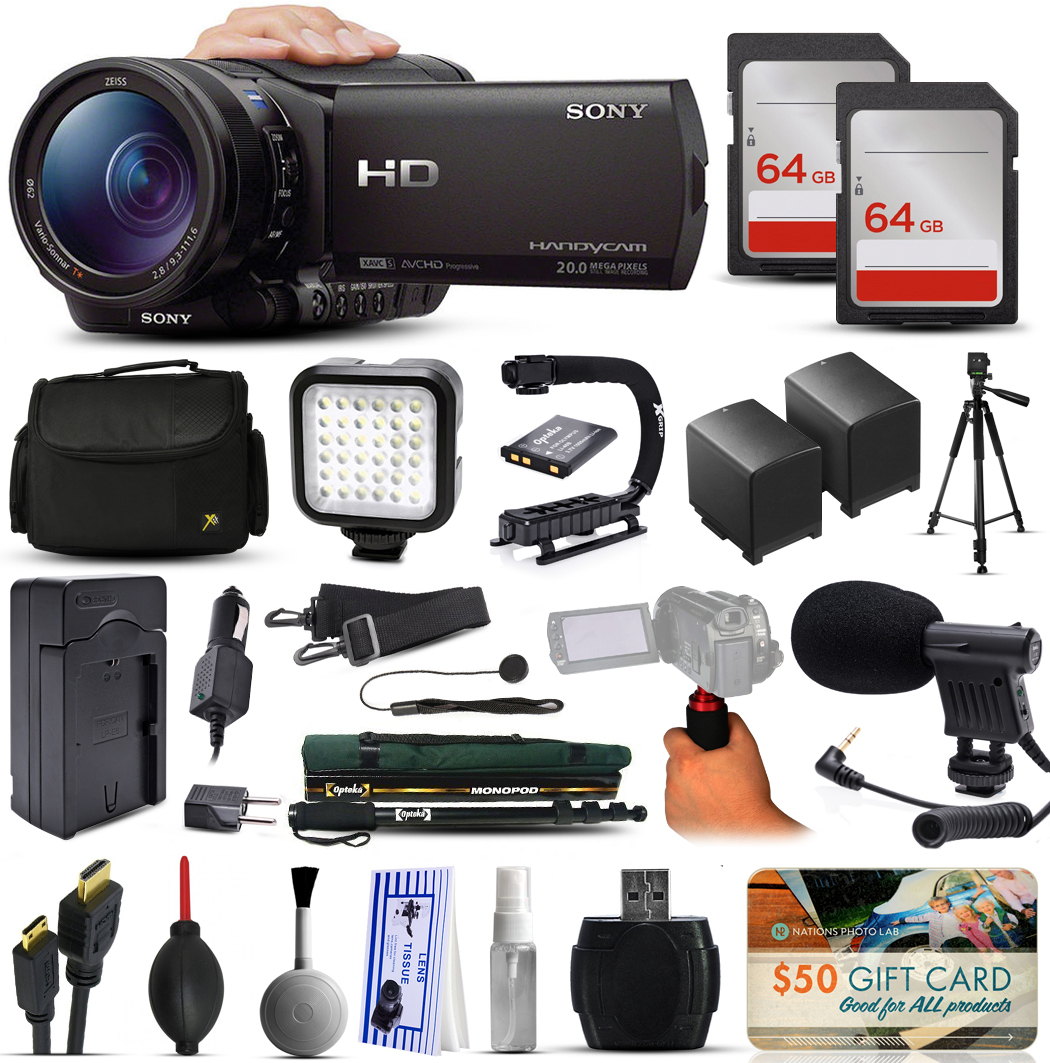 Sony HDR-CX900 Full HD Handycam Camcorder Video Camera + 128GB Boardcasting Filmmaker's Package with LED Night Light + Tripod + Monopod + Action Stabilizer + Handgrip + Microphone + More