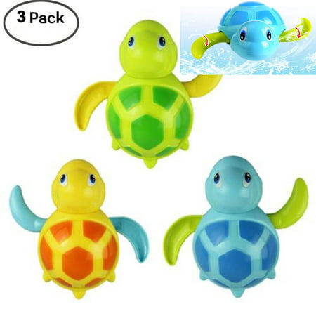 Swimming Tub Bathtub Pool Cute Swimming Turtle Toys for Boys Girls Wind Up Chain Bathing Water Toy 3pcs Bath Swimming Turtle Toy for Baby -