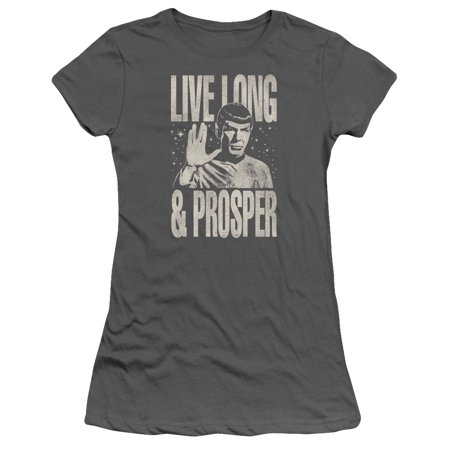 Star Trek 1960's Sci-Fi TV Series Spock Live Long And Prosper Juniors Sheer Tee](1960's Women)