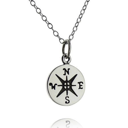 Compass On Chain (Sterling Silver Small Compass Pendant Necklace, 18