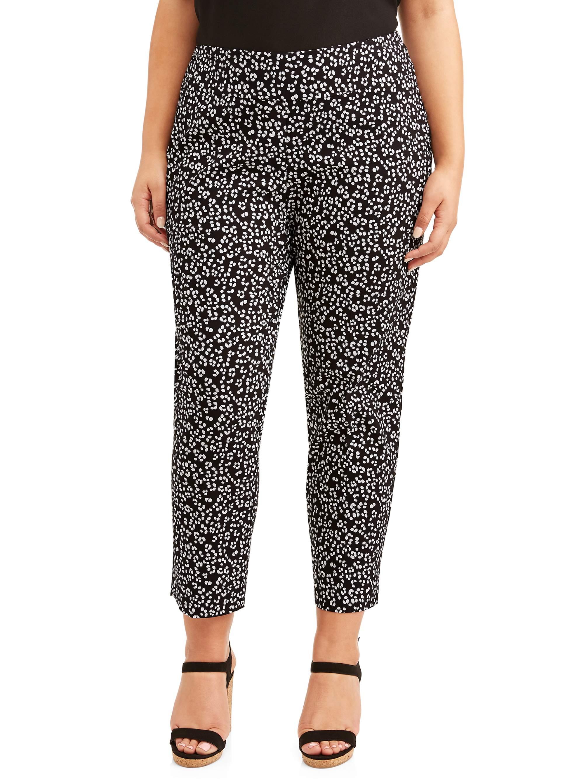 Women's Plus Size Pull On Black White Dot Pant