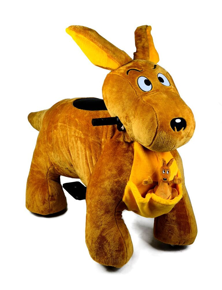 Motorized Plush Kangaroo Ride On Toy Coin Operated Electric Animal Scooter by