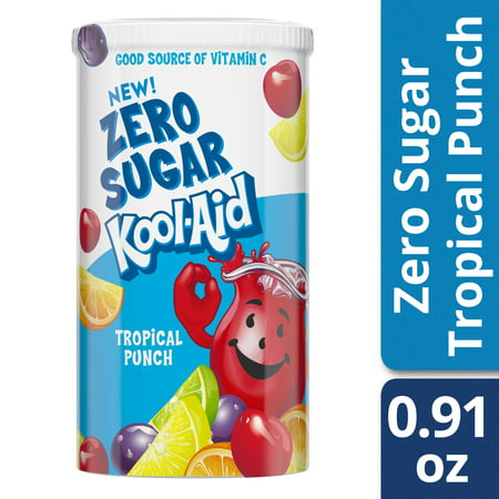(2 Pack) Kool-Aid Jammers Zero Sugar Tropical Punch Drink Mix, 0.91 oz Canister - Formula Tropical Punch