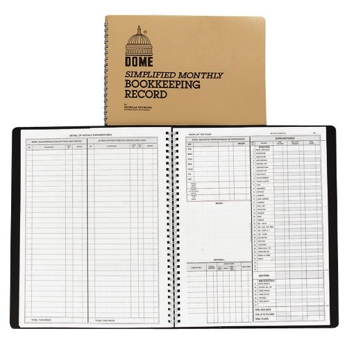 "Dome Weekly Bookkeeping Record - 128 Sheet[s] - Wire Bound - 11.25"" X 8.75"" Sheet Size - 1each (DOM600)"