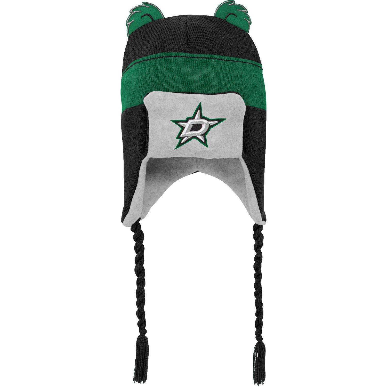 Dallas Stars Preschool Stripe Ears Trooper Knit Trapper Hat - Black - OSFA
