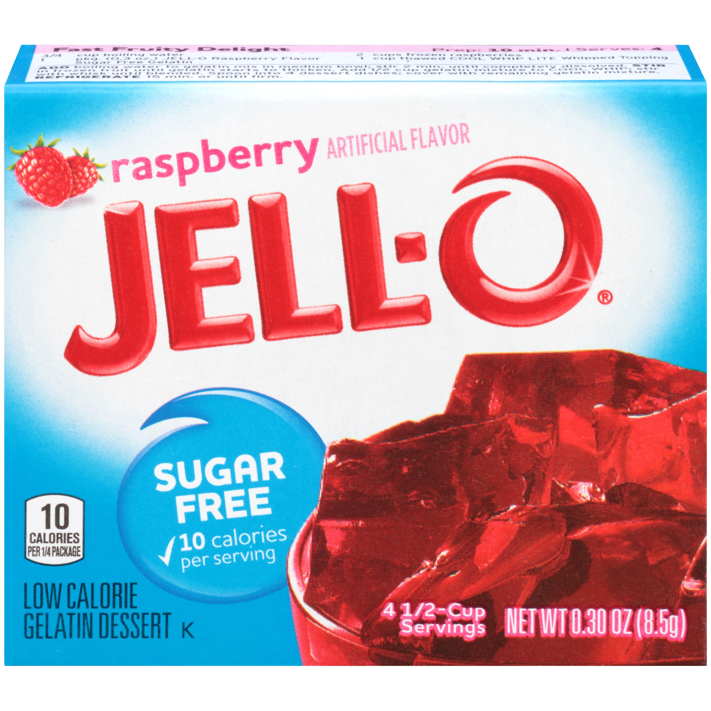 Jell-O Sugar Free Raspberry Low Calorie Gelatin Dessert Mix 0.3 oz. Box