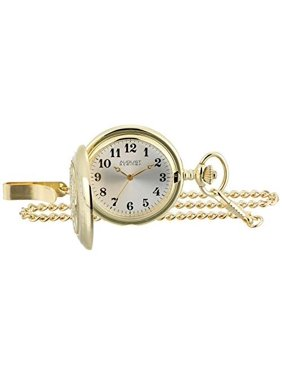 Men's Japanese Quartz Locomotive Pocket Watch & Money Clip - Gold-Tone