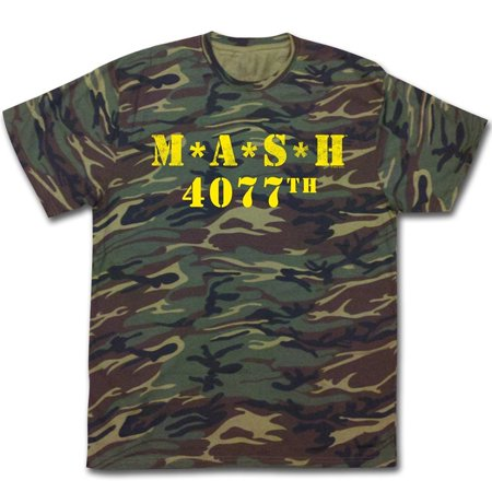 Camouflage Print T-shirt (MASH 4077th Camouflage Yellow Print Adult T-Shirt )
