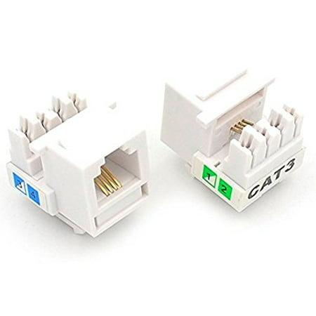 10 Pcs CAT3 RJ11 6P4C Phone Telephone Keystone Jack 110 H-Modular White CAT (Keystone Phone)