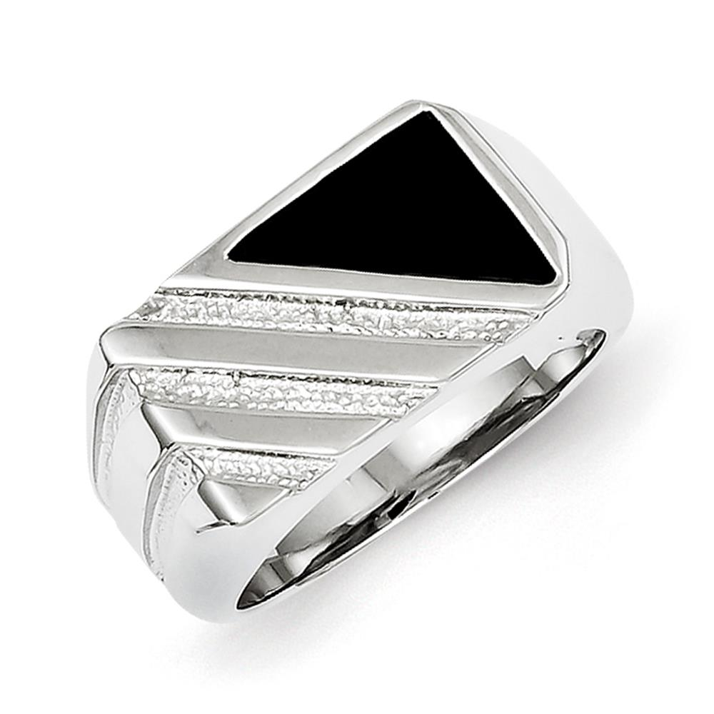 Men's 925 Sterling Silver Men's Polished Black Onyx Ring Size 11