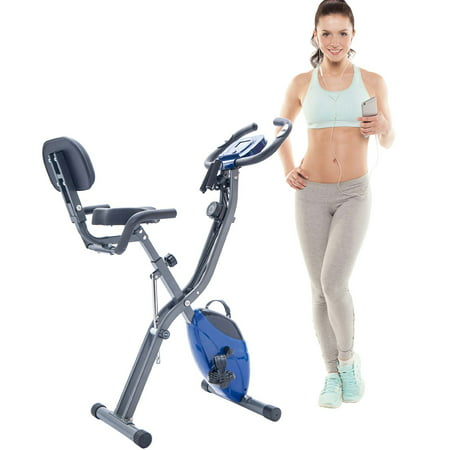 Blue Folding Exercise Bike, Sports Home Fitness Upright Recumbent X-Bike with 10-Level Adjustable Resistance