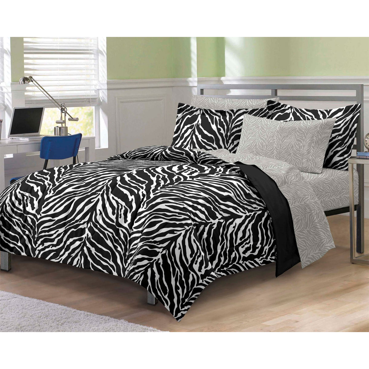 Bed sheet set black and white - My Room Zebra Complete Bed In A Bag Bedding Set Black White Walmart Com