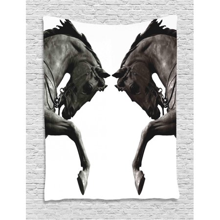 Breeze Tapestry - Sculptures Tapestry, Twin Contrast Horse Heads Statue Image Vintage Style Abstract Art Antique Theme, Wall Hanging for Bedroom Living Room Dorm Decor, Bronze, by Ambesonne