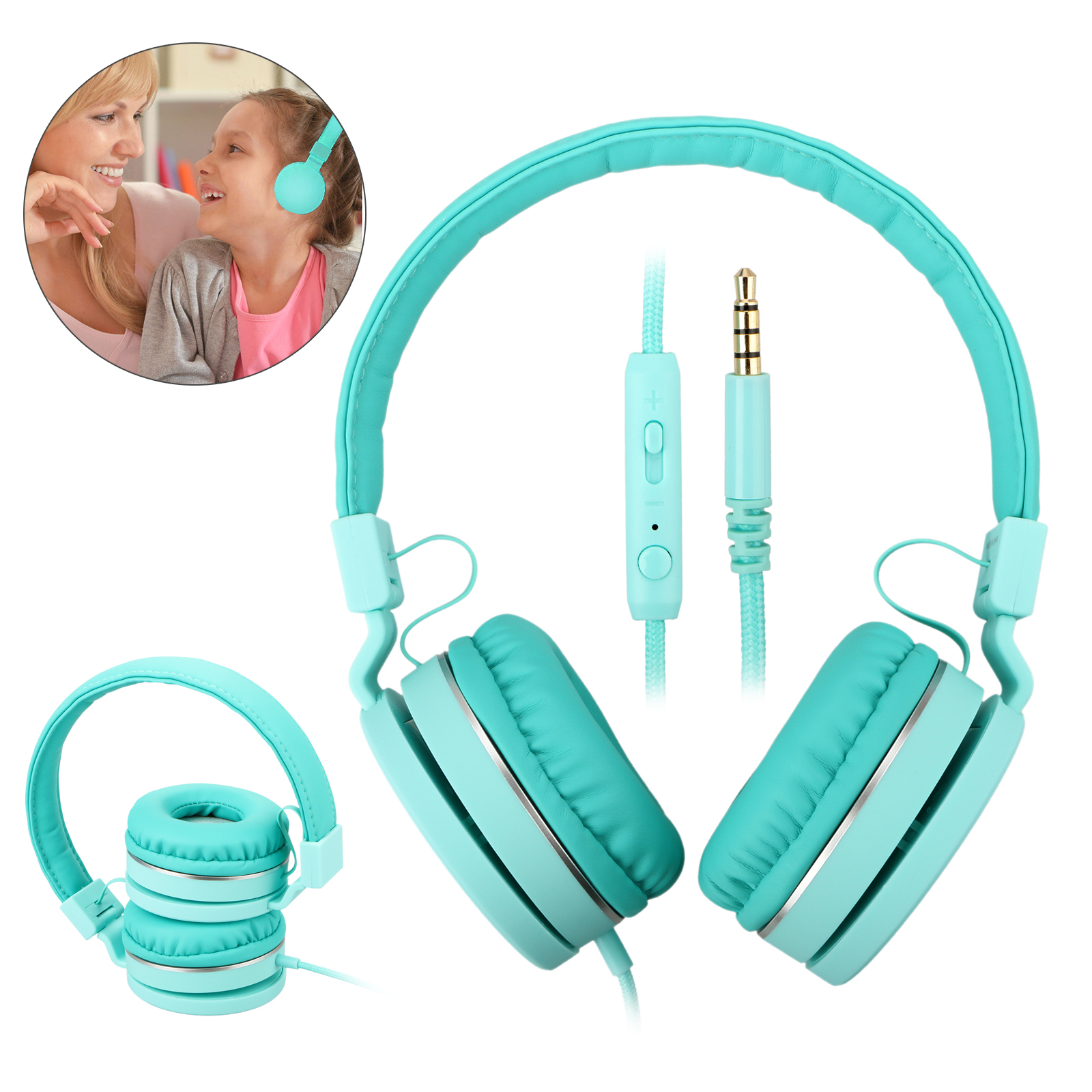 Wired headphones Volume Limited Headset Built-in HD Microphone Elegant and Fashion Earphone for Children/Kinds