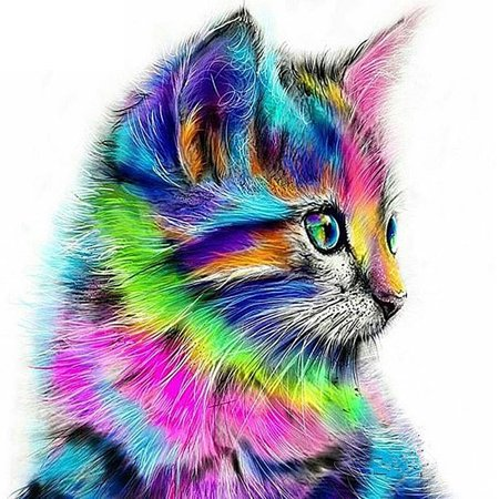 12 * 12 inches/30 * 30cm DIY 5D Diamond Painting Kit Colorful Cat Pattern Resin Rhinestone Embroidery Cross Stitch Craft Home Wall Decor - image 1 of 7