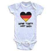 My Aunt Loves Me German Language Germany Flag Heart Baby Onesie - Meine Tante liebt mich, 0-3 Months White