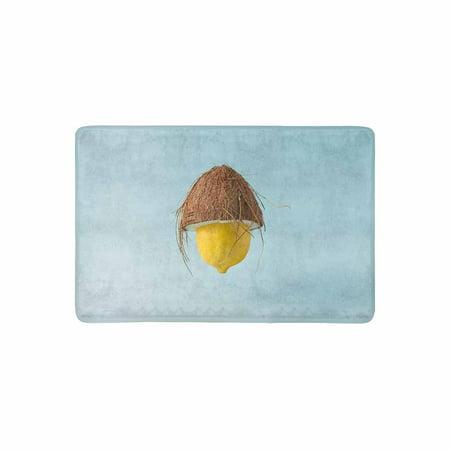 MKHERT Funny Food Yellow Lemon with Coconut Hat Doormat Rug Home Decor Floor Mat Bath Mat 23.6x15.7 inch for $<!---->