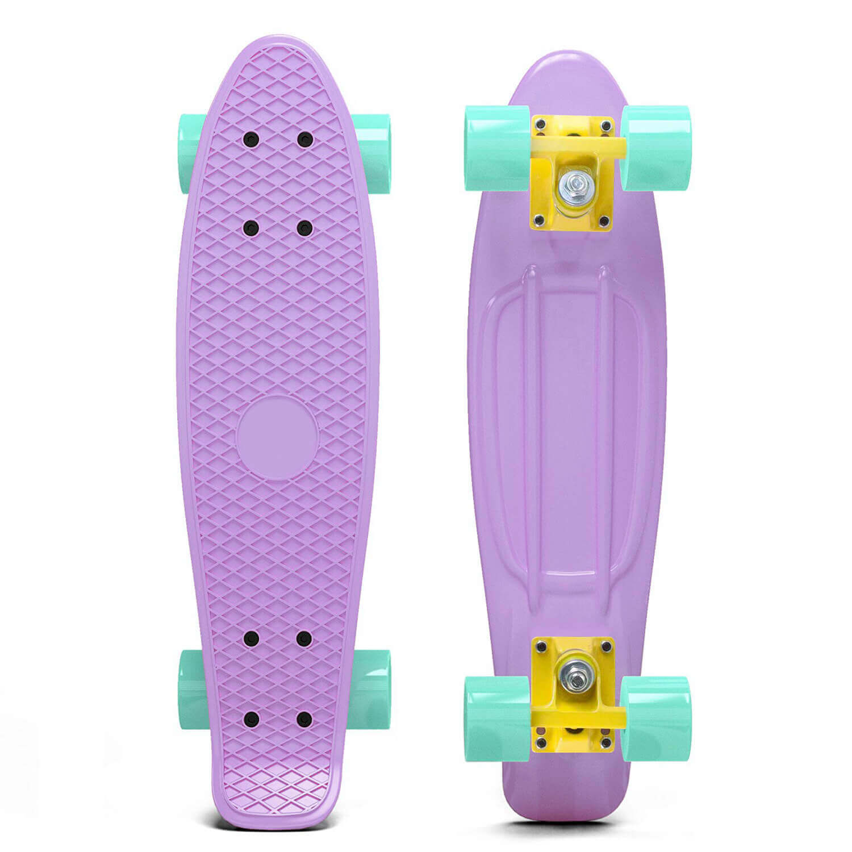 Pastel Penny Style Cruiser 22 inch Board Plastic Retro Mini Skateboard Complete, Lilac by Scale Sports