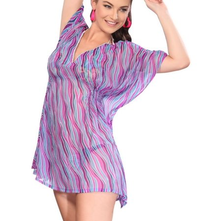 Loose Summer Bikini Beach Swim Bathing Chiffon Cover Up Mini Dress For Women 1595