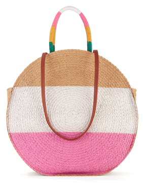 Time & Tru Striped Straw Circle Tote Bag