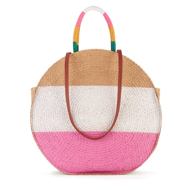 Time & Tru Striped Straw Circle Tote Bag with Inner Slip Pocket