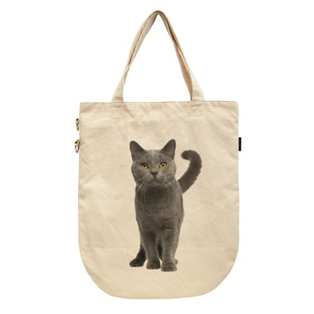 Women Chartreux Cat Printed Canvas Tote Shoulder Bags WAS_39