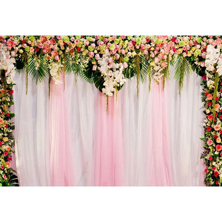 ABPHOTO Polyester Photo Background Wedding Curtain Backdrop Flowers Love Heart Party Photo Booth Background 7x5ft, Pink](Photo Booth Curtains)