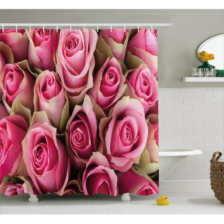 Rose Shower Curtain Blooming Fresh Pink Roses Festive Bridal Bouquet Romance Sweetheart Valentine Fabric