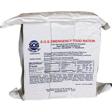 S.O.S. Rations Emergency 3600 Calorie Food Bar - 3 Day / 72 Hour Package with 5 Year Shelf Life 4 pack