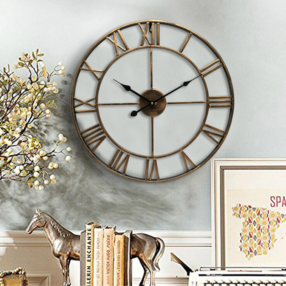 18.5 Inch Skeleton Roman Numeral Wall Clock Round Shape ...