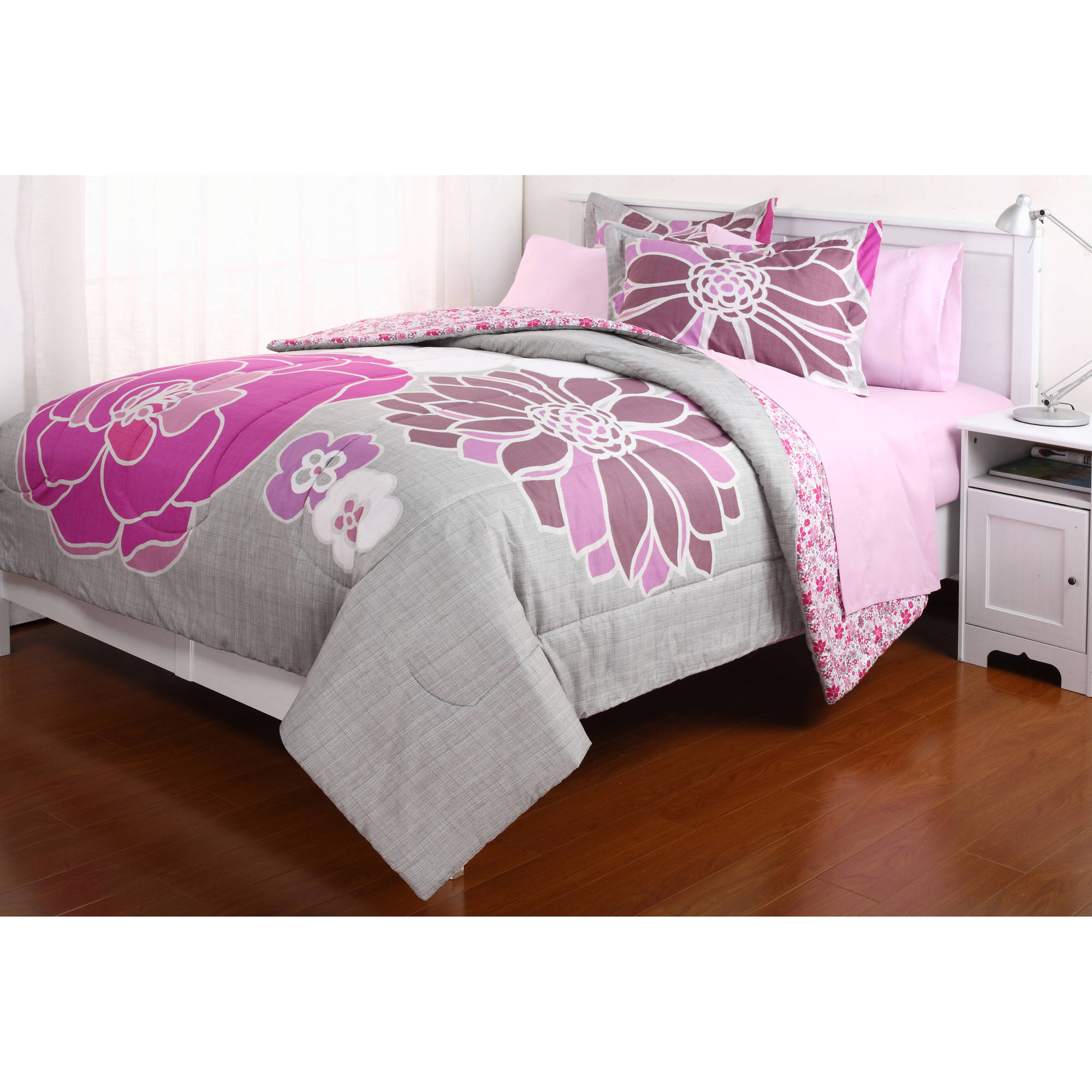 Leah Reversible Bed in a Bag Bedding Set Walmart