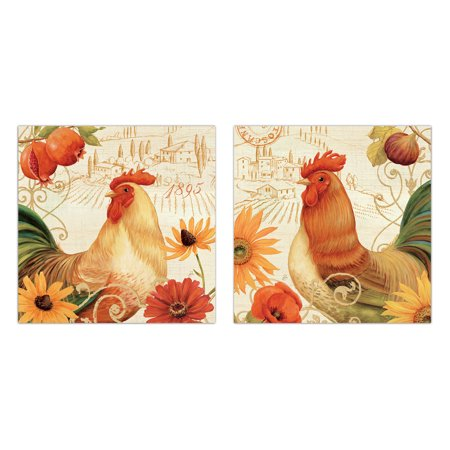 Colorful Toscana Rooster and Floral Set by Daphne Brissonnet; Country Decor; Two 12x12in Poster (Floral Rooster)
