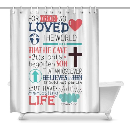 MKHERT Christian Bible Verse John 3:16 So Loved The World House Decor Shower Curtain Bathroom Decorative Fabric Bath Curtain Set Rings 66x72 inch ()