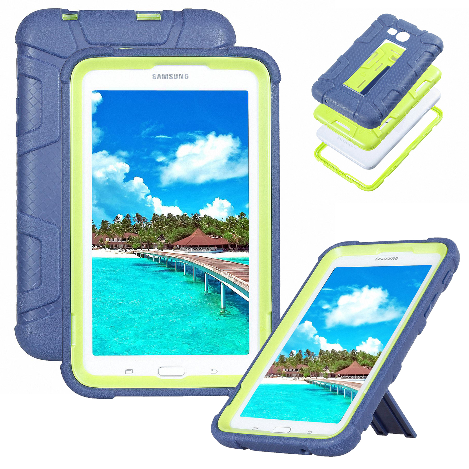 """Goodest Galaxy Tab E Lite / Galaxy Tab 3 Lite 7"""" Kids Case T110 T111 T113 T116, Silicone Rubber Armor Protective Shockproof Armor Kickstand Cover for Samsung Galaxy Tab E/3 Lite, Black+Mint"""