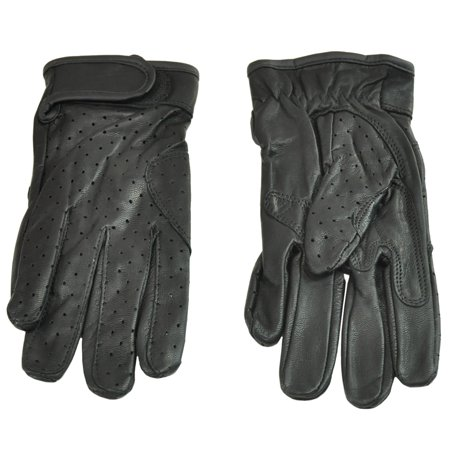 Street Riding Gloves - Men's Fulmer G41 Goatskin Motorcycle Riding Gloves Perforated Vented Black