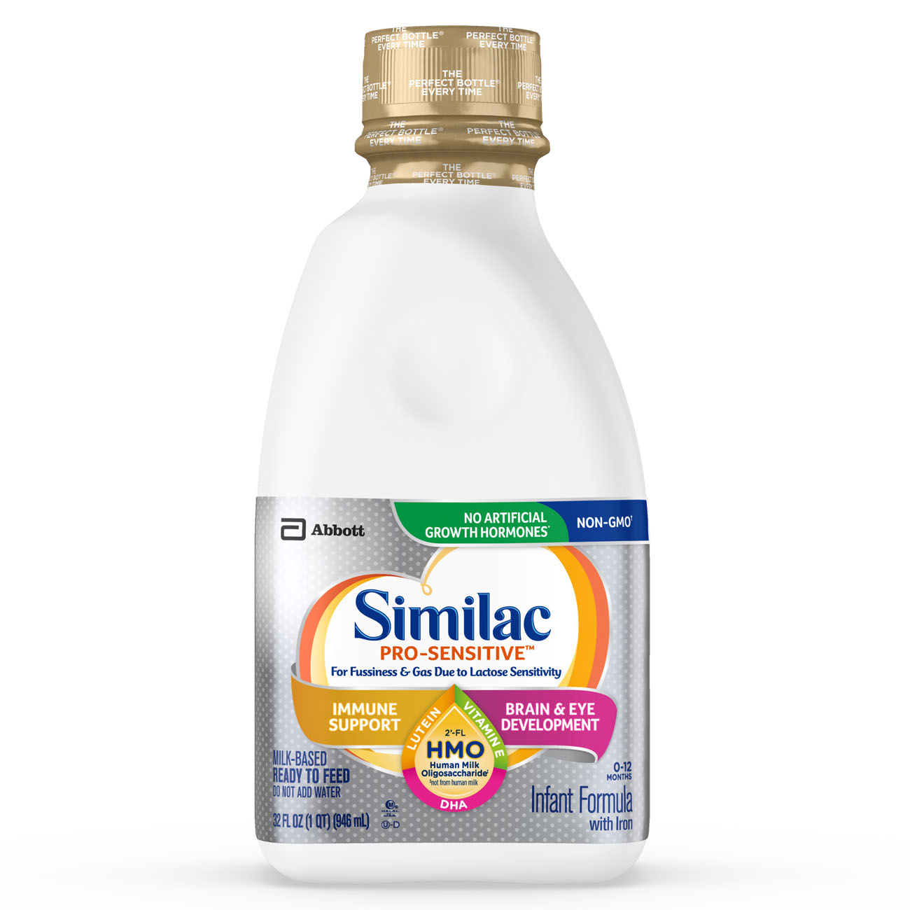 Similac Pro-Sensitive Non-GMO with 2'-FL HMO Infant Formula with Iron for Immune Support, Baby Formula 32 fl oz Bottle
