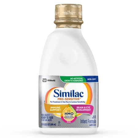 Similac Pro-Sensitive Non-GMO with 2'-FL HMO Infant Formula with Iron for Immune Support, Baby Formula 32 fl oz Bottles (Pack of 6)