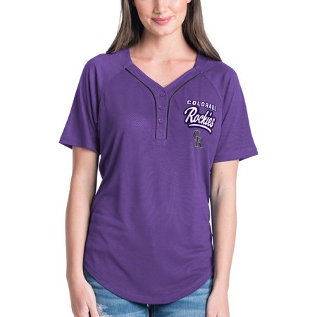 Women's New Era Purple Colorado Rockies Henley Mesh Jersey T-Shirt ()