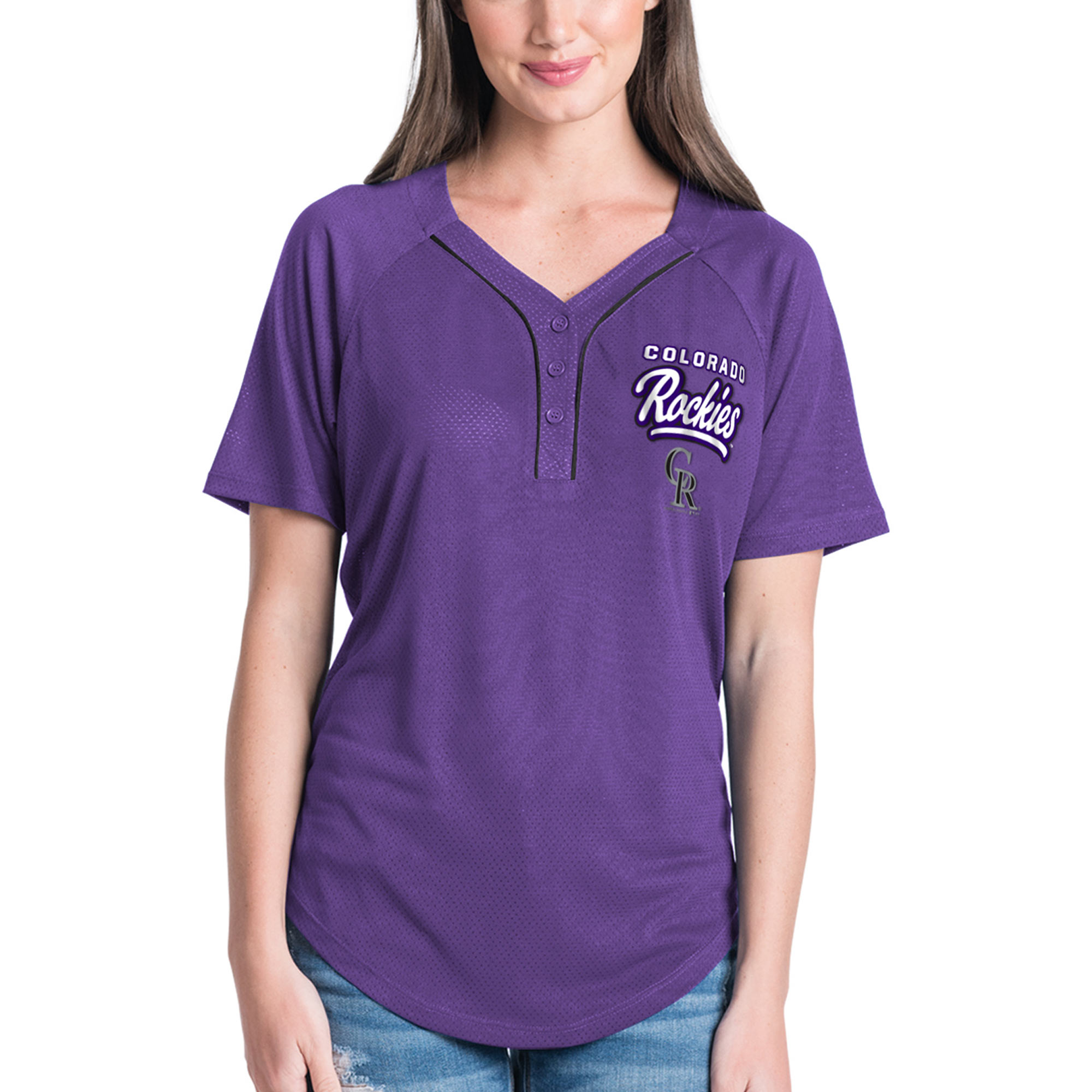 Women's New Era Purple Colorado Rockies Henley Mesh Jersey T-Shirt