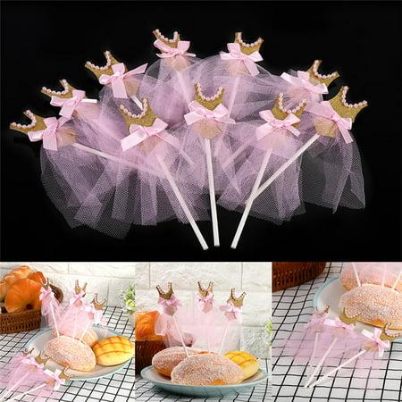 Princess Leia Gold Bikini (Fdit 10Pcs/Pack Gold Glitter Birthday Wedding Baby Shower Cupcake Toppers Pink Princess Skirt)