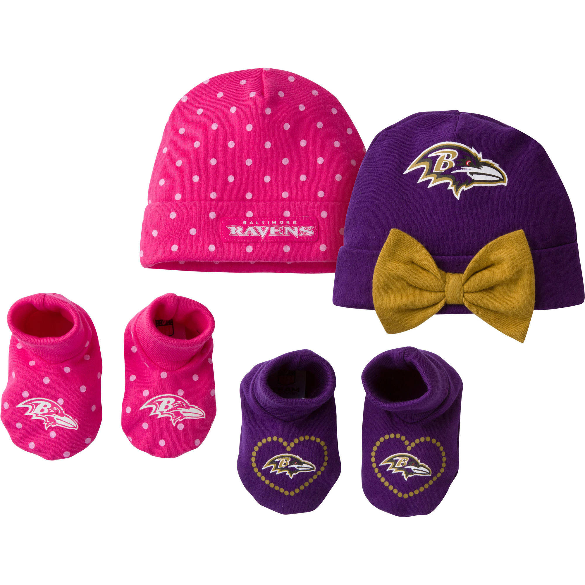 NFL Baltimore Ravens Baby Girls Accessory Set, 2 Caps and 2 Booties, 4-Piece