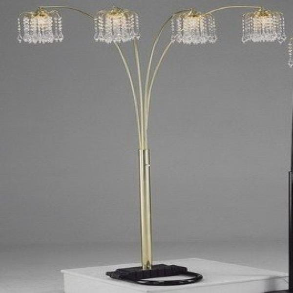 gold rain drop arc floor lamp by crown mark