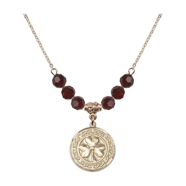 18-Inch Hamilton Gold Plated Necklace with 6mm Red January Birth Month Stone Beads and Shamrock w/ Celtic Border Charm