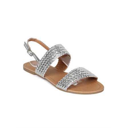 Women Metallic Leatherette Weaved Open Toe Flat Sandal HH64