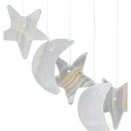 "Beautiful Moons & Stars Wind Chimes, 16"" long, 4"" dia. (0.5lb), Carved from Real North American White Onyx Aragonite"