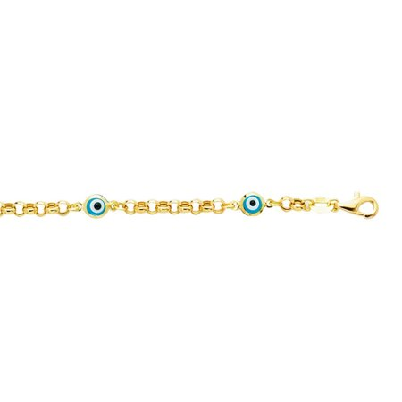 14k 5.5 Inch Yellow Gold Shiny Rolo Link Chain Station Evil Eye Bracelet With Pear Shape Clasp 14k Gold Rolo Bracelet